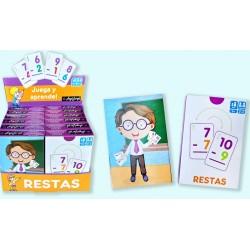 Pack 12 Un. Juego de Cartas Juega y Aprende| Restas