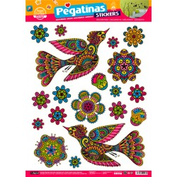 Stickers Aves y Flores (48x68)